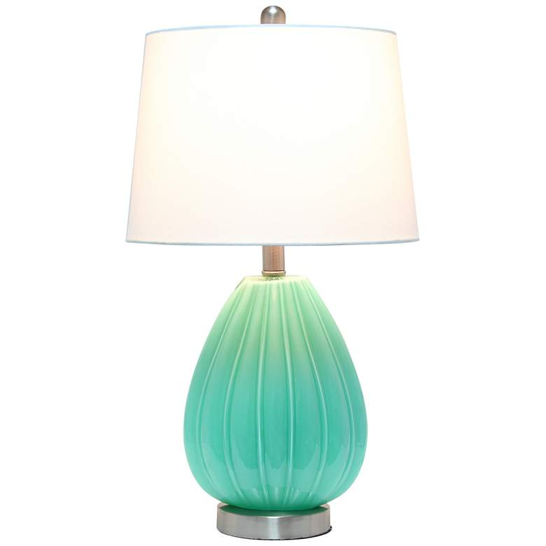Lalia Home Seafoam Pleated Glass Accent Table Lamp more views