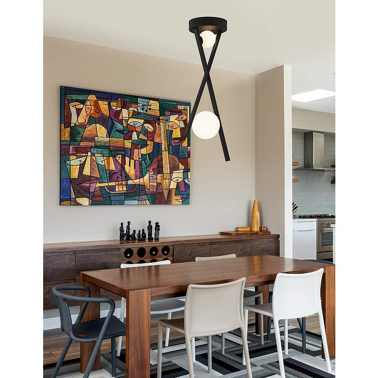 "Fusion™ Bevel 12 1/2""W Matte Black LED Pendant Light more views"