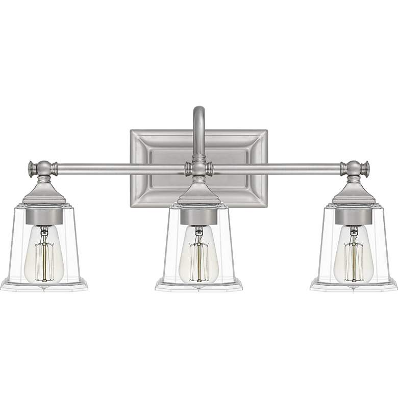 "Quoizel Nicholas 22"" Wide Brushed Nickel 3-Light Bath Light more views"