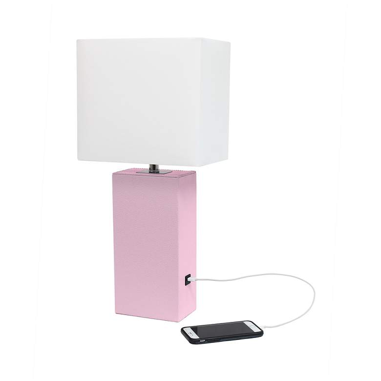 Elegant Designs Blush Pink Leather USB Accent Table Lamp more views