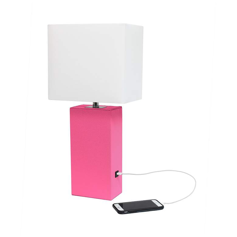 Elegant Designs Hot Pink Leather USB Accent Table Lamp more views