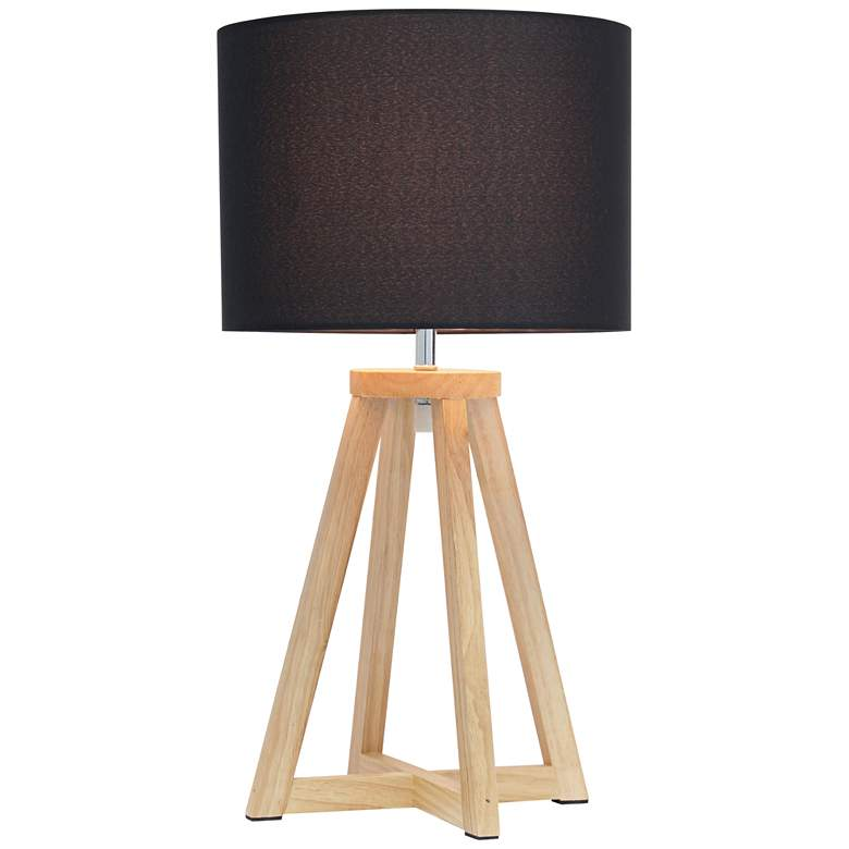 "Simple Designs 19 1/4""H Natural Wood Black Accent Table Lamp more views"