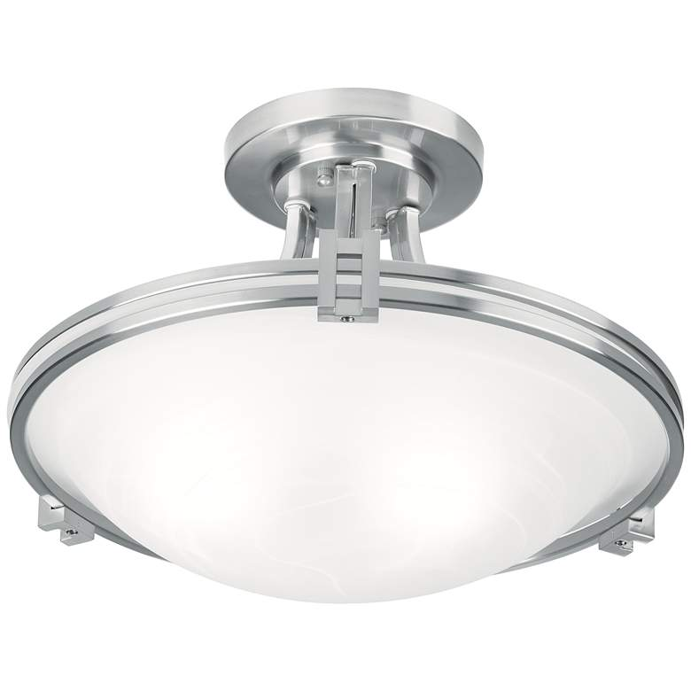 "Possini Euro Deco 16"" Wide Brushed Nickel Ceiling Light more views"