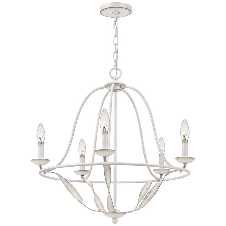 "Quoizel Bradbury 25"" Wide Antique White 5-Light Chandelier more views"