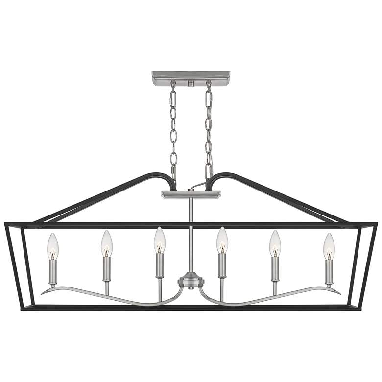 "Quoizel Catalina 42"" Wide Matte Black 6-Light Island Pendant more views"