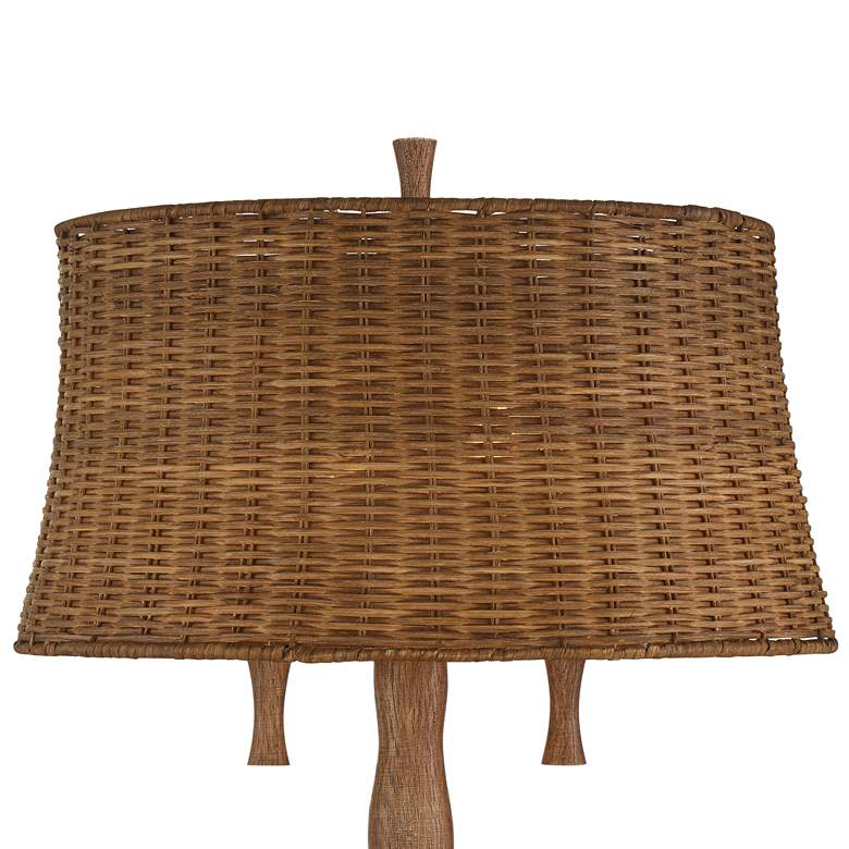 Dawson Rustic Tree Trunk Rattan Shade Table Lamp more views