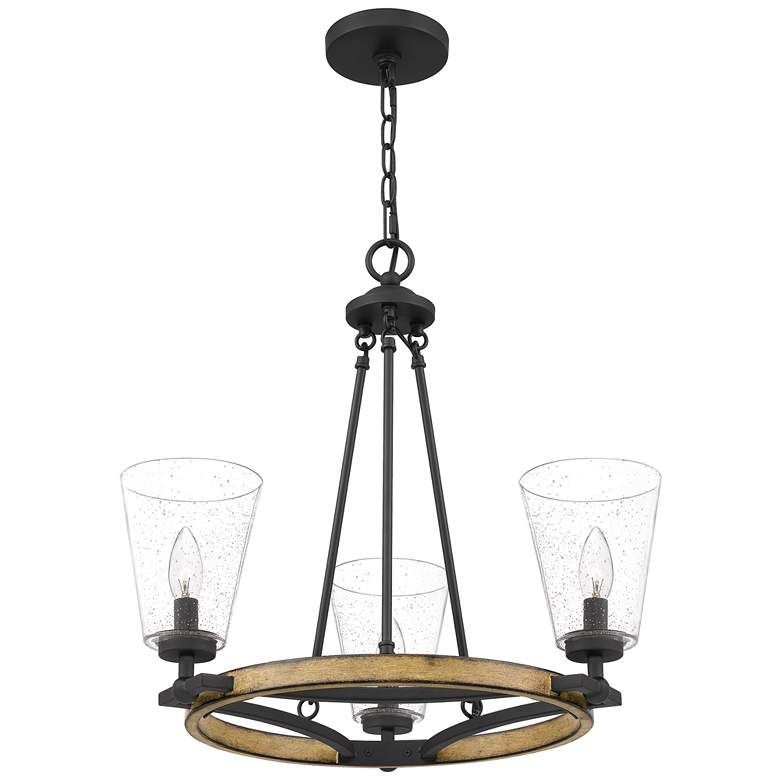 "Quoizel Hearst 22 1/4"" Wide Matte Black 3-Light Chandelier more views"