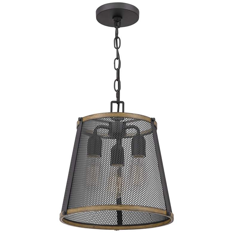 "Quoizel Lindstrom 13"" Wide Matte Black 3-Light Pendant Light more views"
