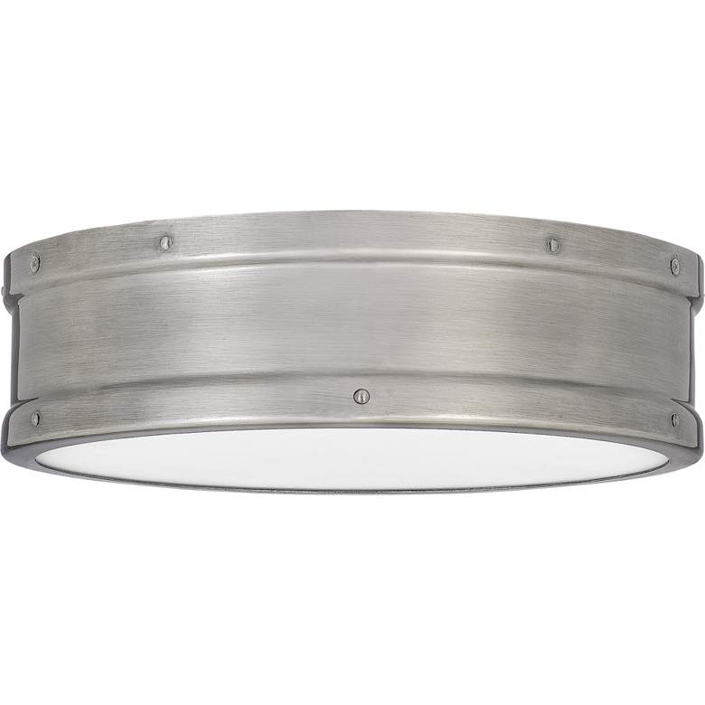 "Quoizel Ahoy 12 3/4"" Wide Antique Nickel LED Ceiling Light more views"