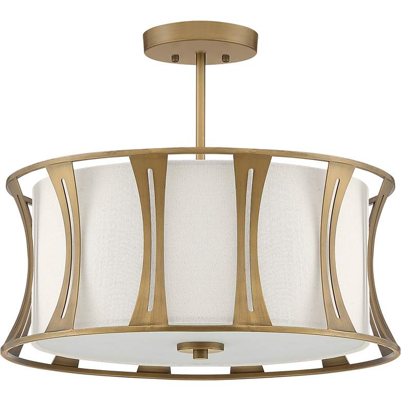 "Quoizel Woodmere 20"" Wide Egyptian Gold Drum Ceiling Light more views"