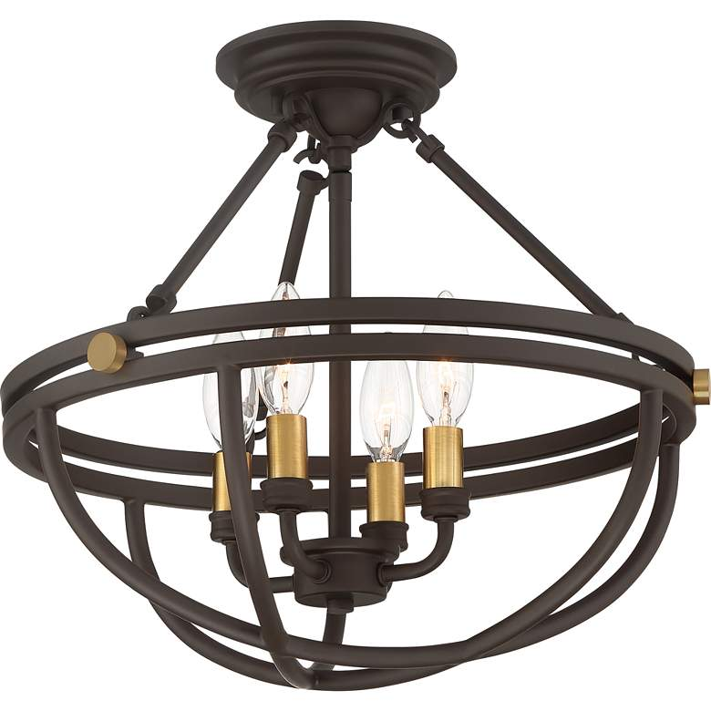 "Sergeant 15 3/4"" Wide Western Bronze 4-Light Ceiling Light more views"