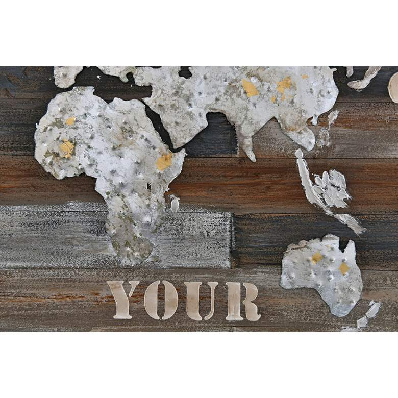 "Wanderlust 48"" Wide Rustic Wood Rectangular Wall Art more views"