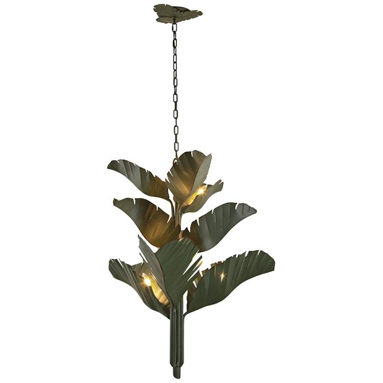 "Varaluz Banana Leaf 35"" Wide Natural Green Metal Chandelier more views"