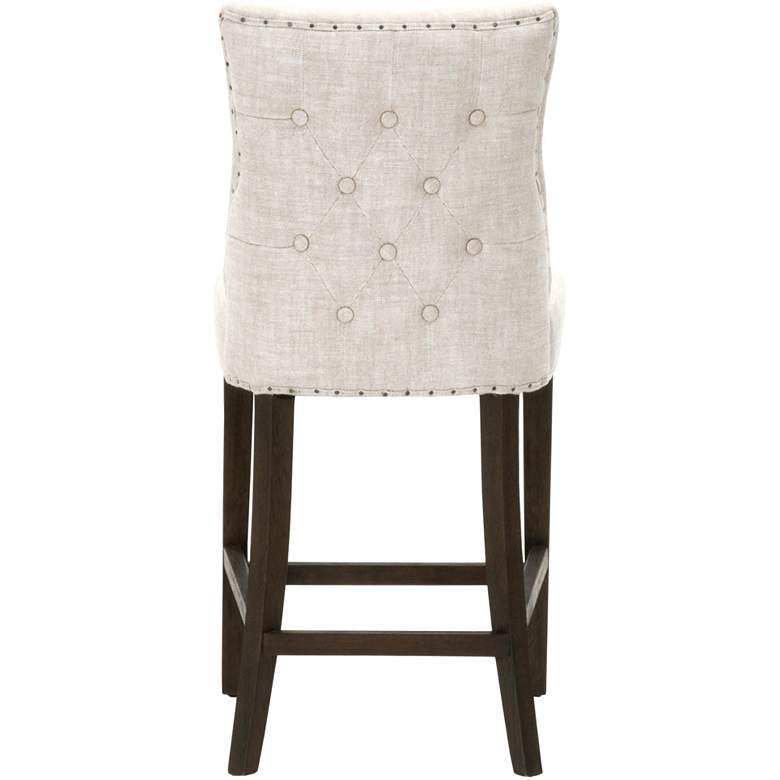 "Lourdes 26 1/2"" Bisque French Linen Tufted Counter Stool more views"