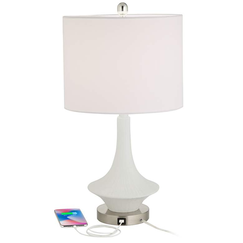 Sharon Modern USB Table Lamps in White Set of 2 more views
