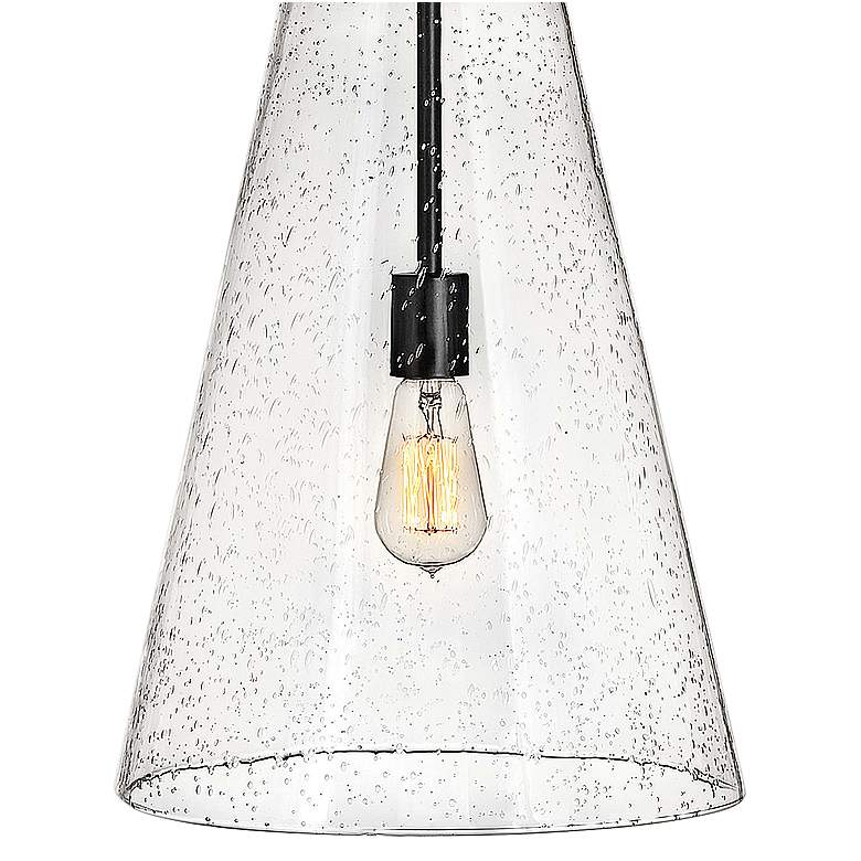 "Hinkley Vance 13"" Wide Satin Black and Glass Pendant Light more views"