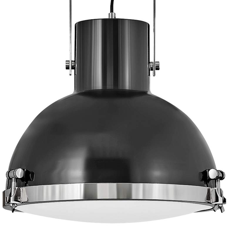 "Nautique 18""W Polished Nickel and Gloss Back Pendant Light more views"