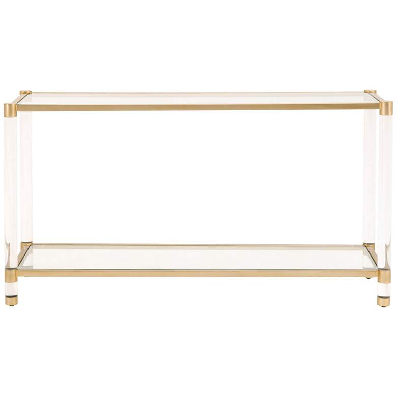 "Nouveau 58""W Tempered Glass and Brass 1-Shelf Console Table more views"
