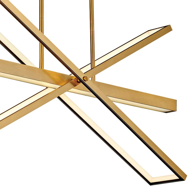 "Tangent 36"" Wide Lacquered Brass 4-Light LED Pendant Light more views"