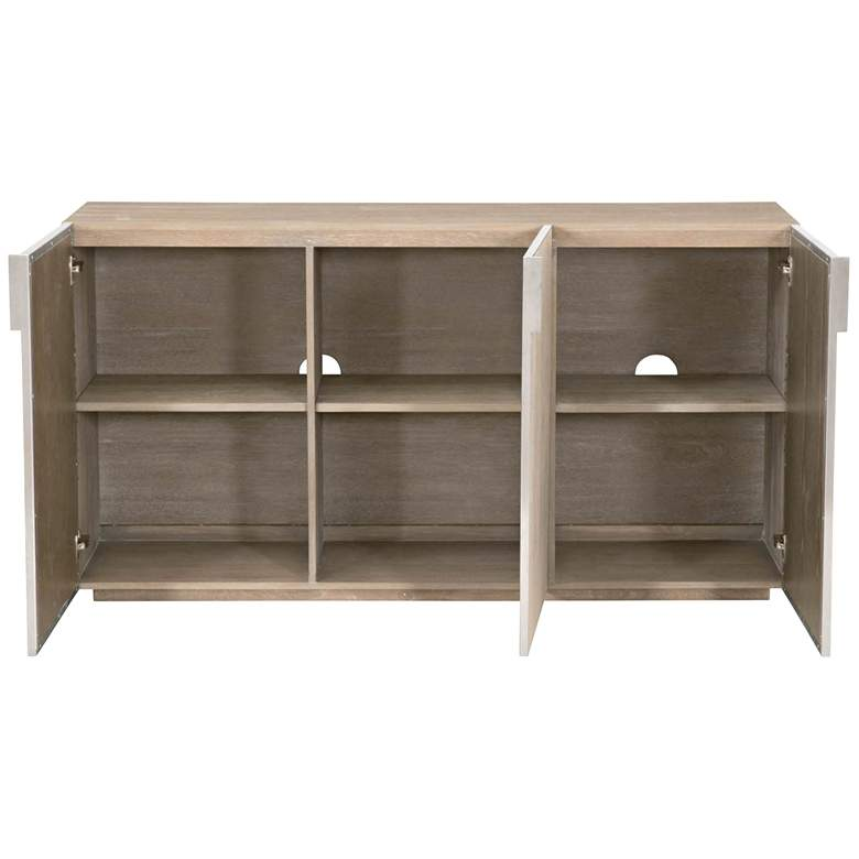 "Alina 63"" Wide White and Natural Gray 3-Door Media Sideboard more views"
