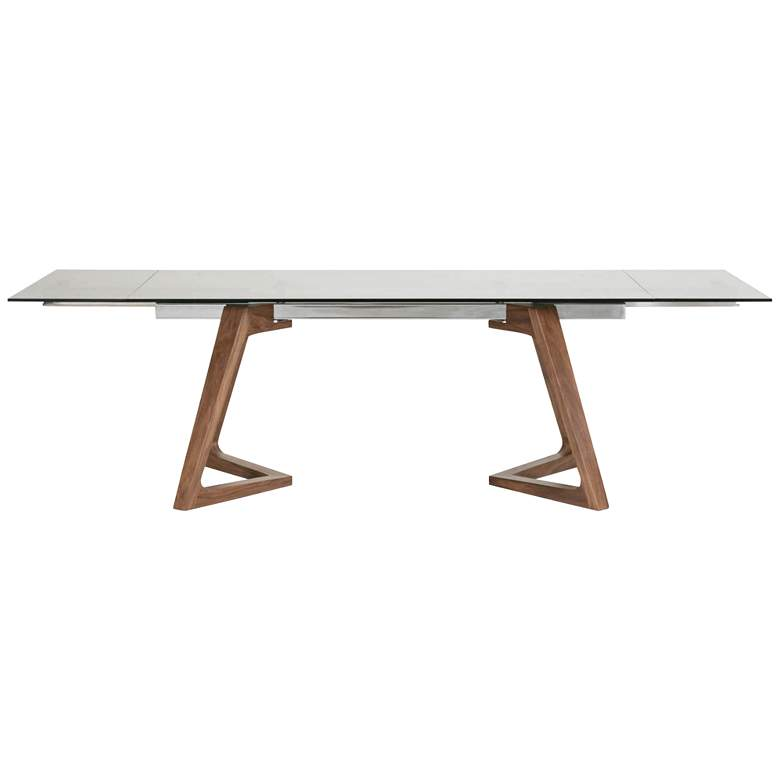 "Axel 103"" Wide Smoke Gray Glass Extendable Dining Table more views"