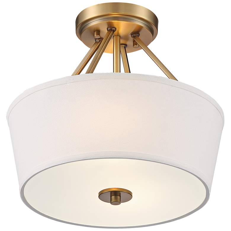 "Possini Euro Conner 13"" Wide Warm Brass Drum Ceiling Light more views"