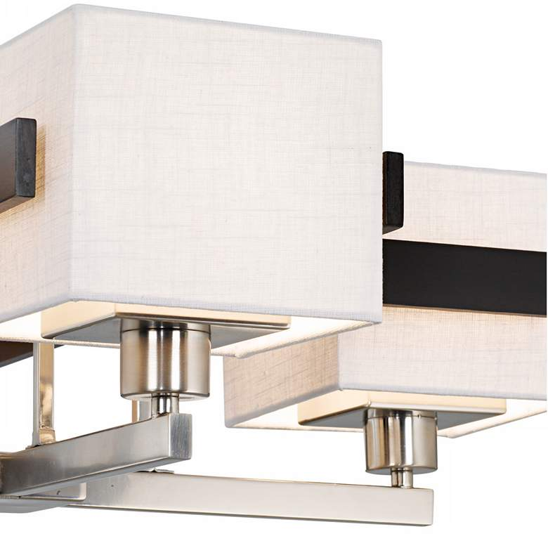 Possini Euro Quartet Mirrored Grid Metal and Wood Chandelier more views