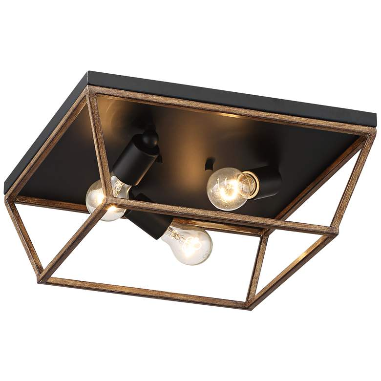 "Faven 15"" Wide 3-Light Black Ceiling Light more views"