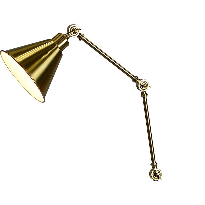 Forty West Tim Antique Brass Adjustable Metal Floor Lamp more views