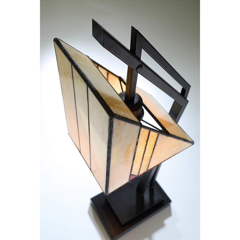 Lite Source Verda Black with Tiffany Art Glass Desk Lamp more views