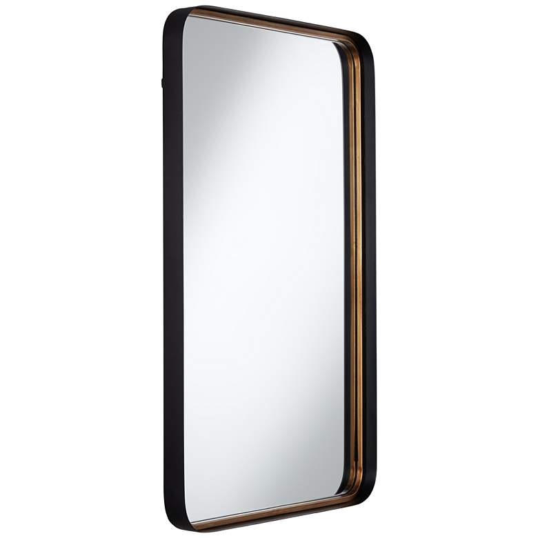 "Uttermost Gold Black 24"" x 38"" Rounded Edge Wall Mirror more views"