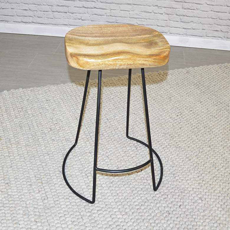 "Saga 25 1/2"" Natural Wood and Black Counter Stools Set of 2 more views"