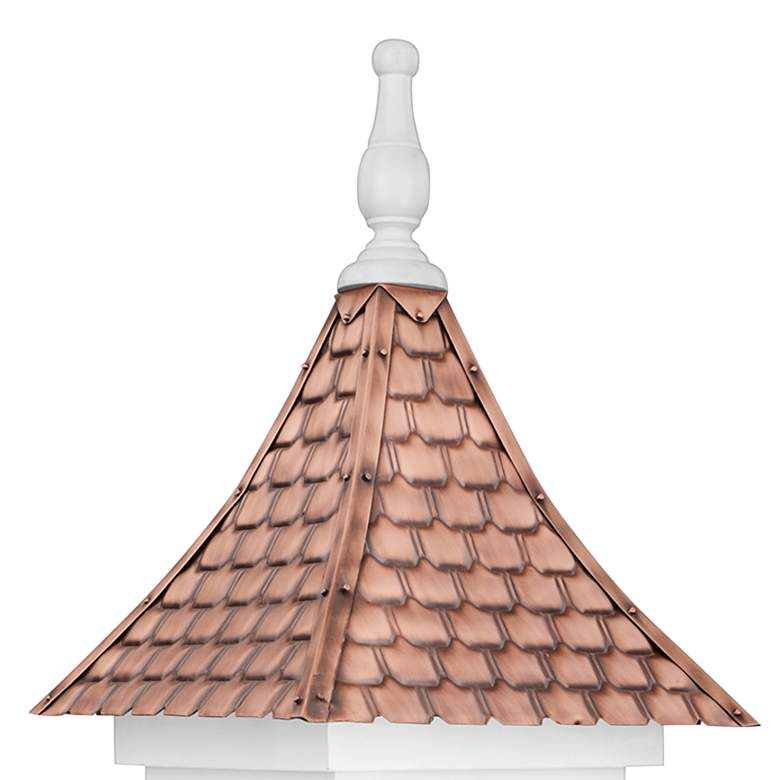 Villa Pure Copper and White Mango Wood Bird House more views