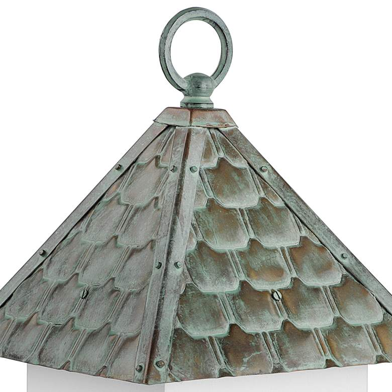 Bungalow Verdigris Pure Copper Roof Wood Bird House more views