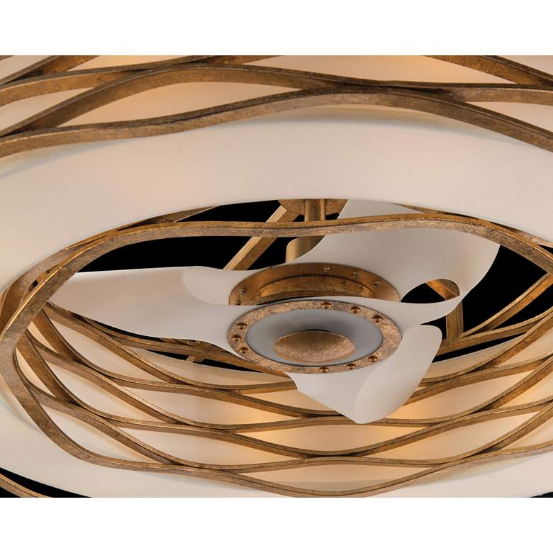 "Ribbons of Gold 42 1/2"" Wide LED Pendant Light with Fan more views"