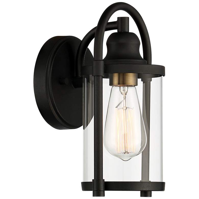 "Avani 10 1/4"" High Black and Brass Outdoor Wall Light more views"
