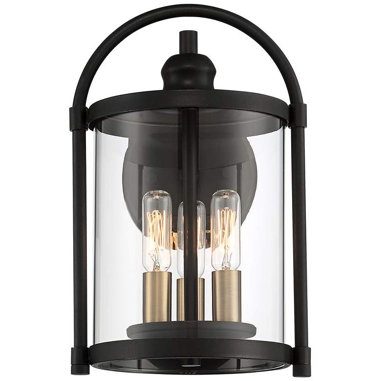 "Avani 13"" High Black and Brass Outdoor Wall Light more views"