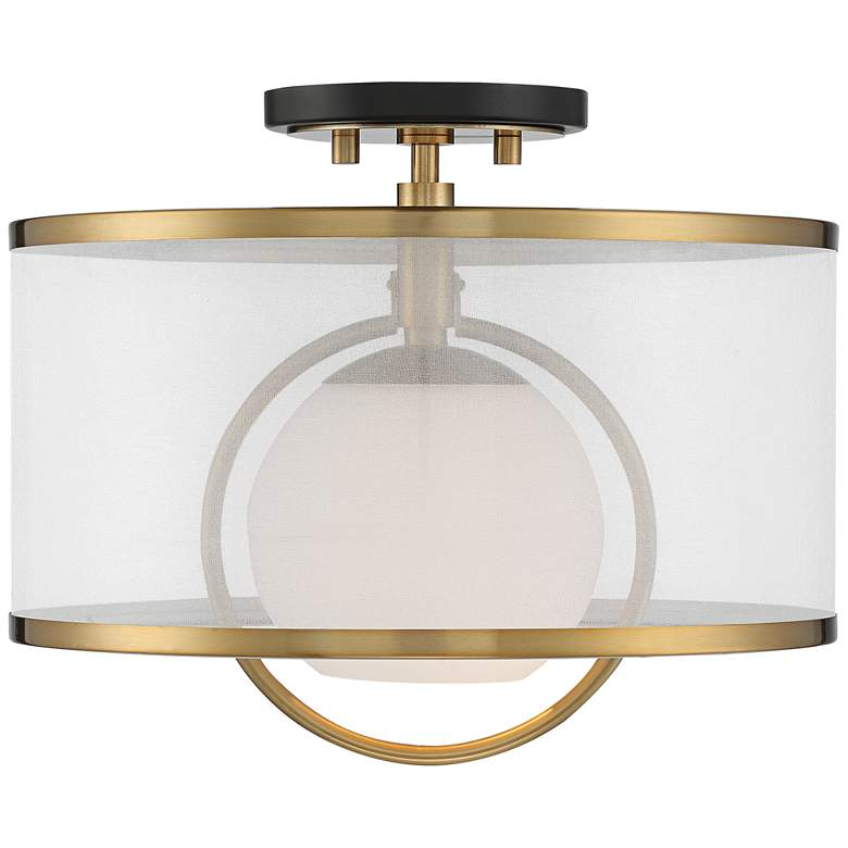 "Carlyn 14"" Wide Warm Antiqued Brass and Black Ceiling Light more views"