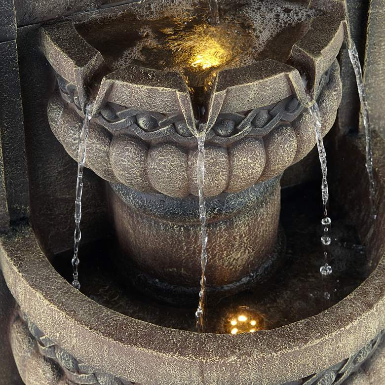 "Lion Face 50"" High Gray 2-Tier Fountain with LED Light more views"