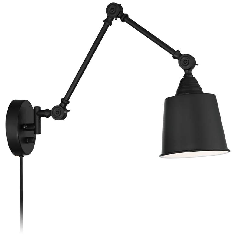 "Mendes Black Finish 12 1/2"" High Plug-In Wall Lamps Set of 2 more views"