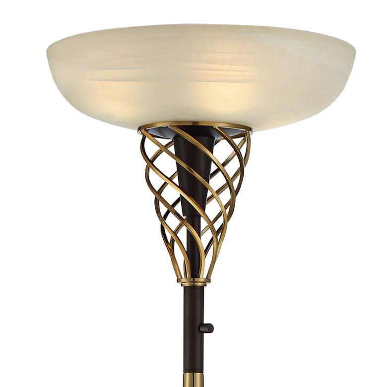 Zeus Bronze and Brass Luxe Torchiere Floor Lamp more views