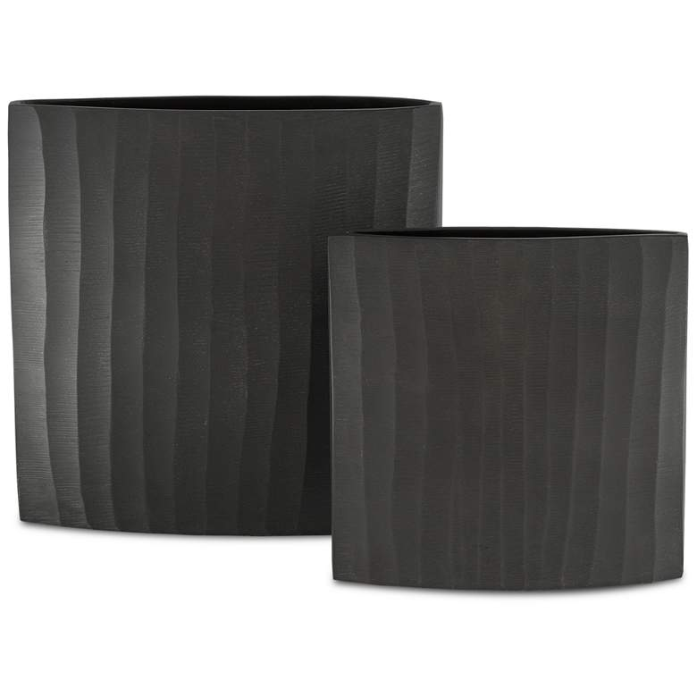Currey and Company Ater Graphite Metal Vases Set of 2 more views