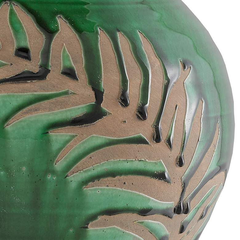 "Fern Emerald Green and Tan 14 3/4"" High Terracotta Vase more views"