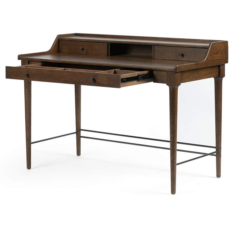 "Moreau 48"" Wide Dark Toasted Oak 3-Drawer Writing Desk more views"