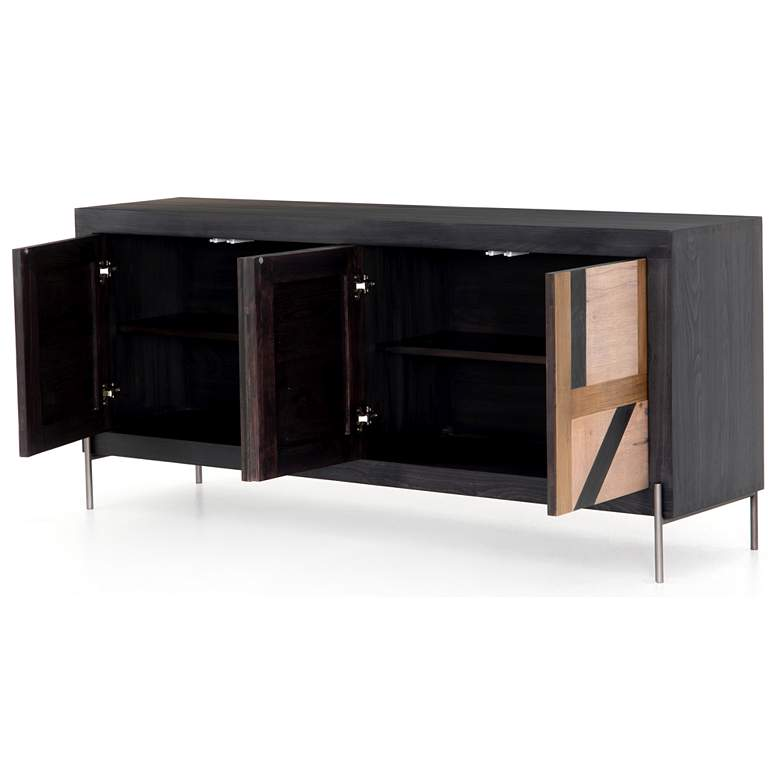 "Kalu 72"" Wide 4-Door Black Wash Wood Sideboard more views"