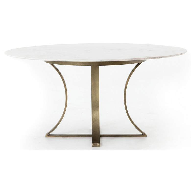 "Gage 60"" Wide Polished White Marble and Brass Dining Table more views"
