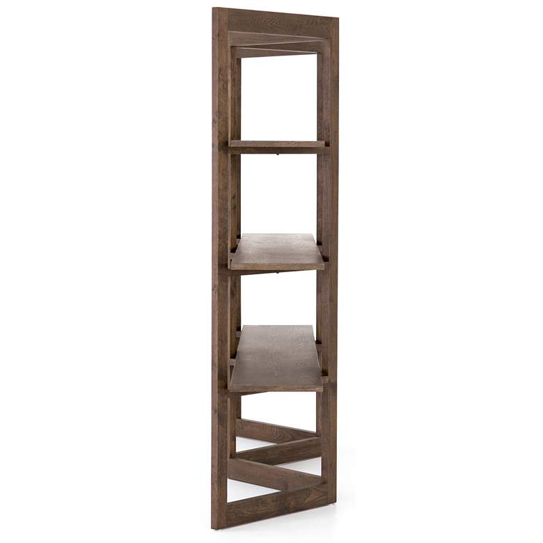 "Malone 94 1/2"" Wide Matte Brown 3-Tier Wood Bookshelf more views"