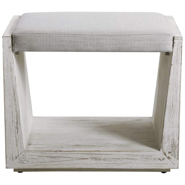 Uttermost Cabana Rustic Whitewashed Wood Small Bench more views