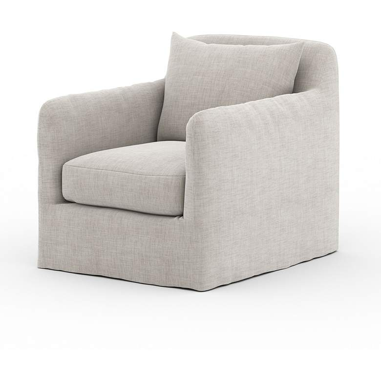 Dade Stone Gray Fabric Outdoor Swivel Chair more views