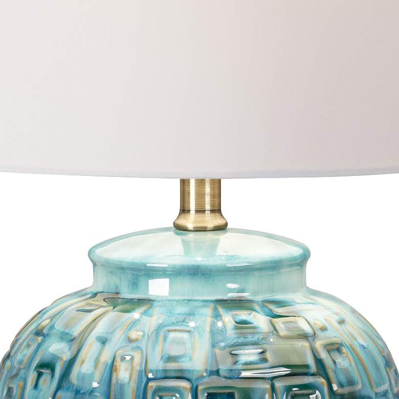 "Teal Temple Jar 27"" High Ceramic Lamp with Table Top Dimmer more views"